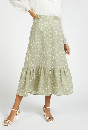 Floral Print Tiered Midi Skirt with Button Detail