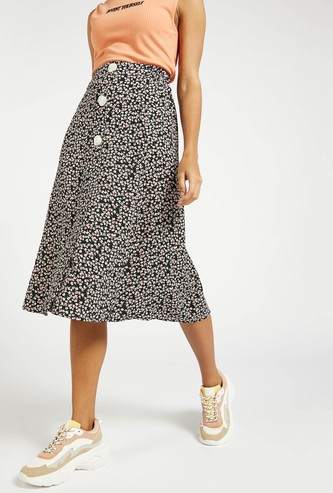 Floral Print Midi A-line Skirt with Button Detail