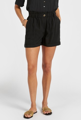 Solid Twill Shorts with Paperbag Waist and Pocket Detail
