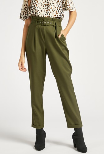 Comfort Fit Ankle Length Solid Belted Trousers with Paperbag Waist