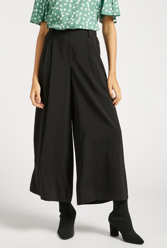 Solid Crepe Palazzo Pants with Pocket Detail and Elasticised Waist