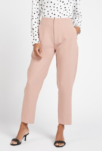 Solid Ankle Length Trousers with Zip Closure and Pintuck Detail