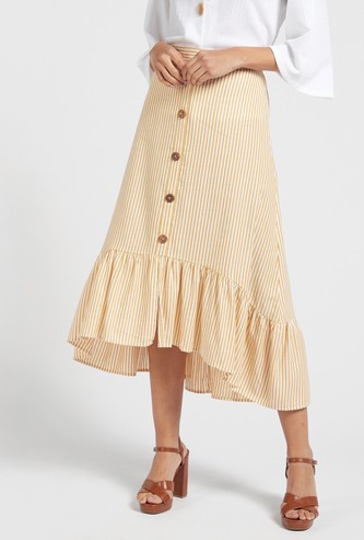 Striped Tiered Midi Skirt with Elasticated Waist and Asymmetric Hem