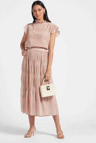 Textured Pleated Midi Skirt with Elasticised Waistband