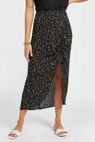 Printed Midi Skirt with Ruched Detailing