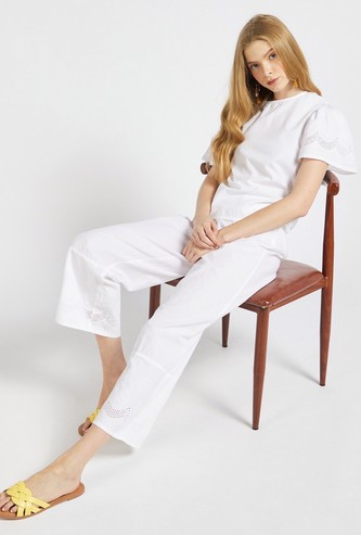 Solid Palazzo Pants with Broderie Hem and Elasticised Waistband
