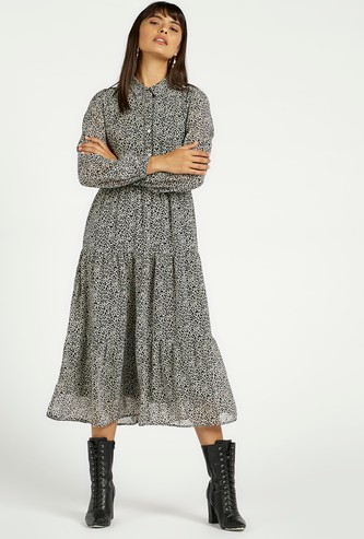 All-Over Print Midi Tiered Dress with Spread Collar and Bishop Sleeves