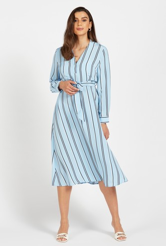 Striped Midi Dress with Long Sleeves and Belt