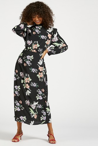 All-Over Floral Print Midi A-line Dress with Bishop Sleeves