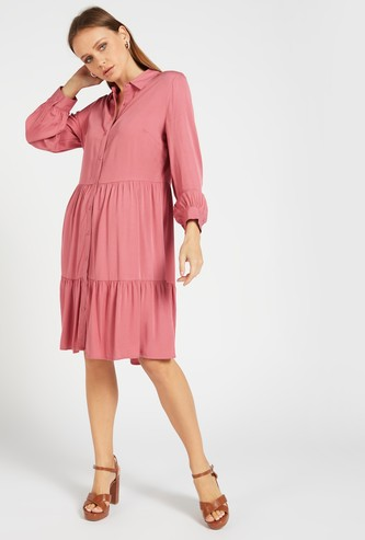 Solid Tiered Midi Shirt Dress with Long Sleeves and Button Closure