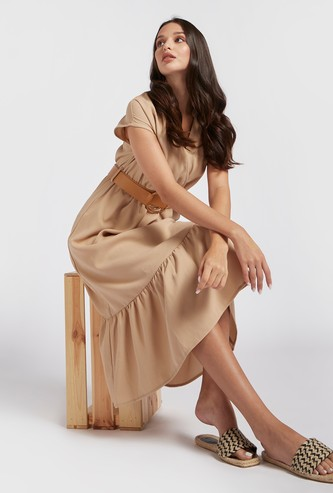 Solid Midi Tiered Dress with V-neck and D-ring Belt