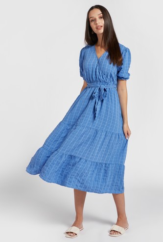 Checked Midi Tiered Dress with Puff Sleeves and Tie-Ups