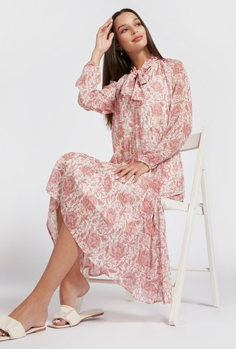 All-Over Printed Kitty Bow Dress with High Low Hem