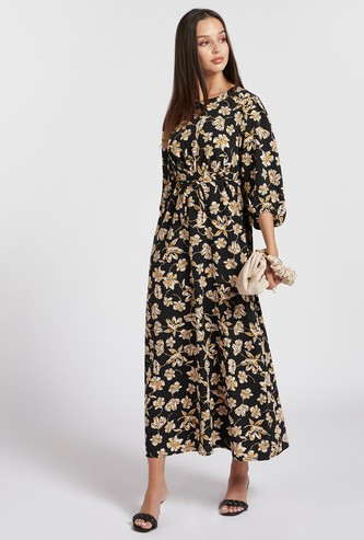 Floral Print A-line Maxi Dress with 3/4 Sleeves and Tie-Ups