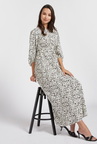 Printed A-line Maxi Dress with 3/4 Volume Sleeves and Tie-Ups
