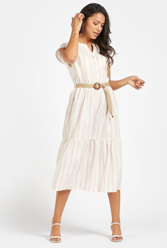 Striped Midi Tiered Dress with Extended Sleeves and Jute Belt