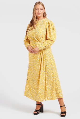 All-Over Print A-line Midi Dress with Puff Shoulder Long Sleeves