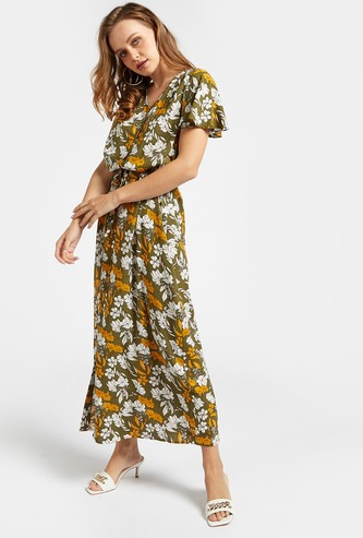 Printed V-neck A-line Maxi Dress with Angel Sleeves