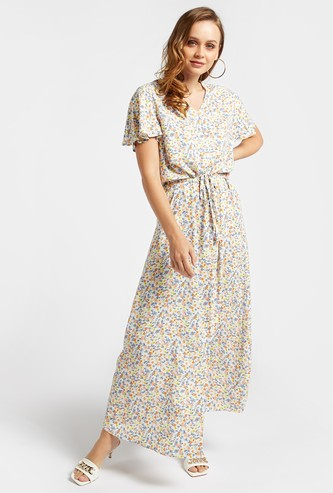 Printed V-neck A-line Maxi Dress with Angel Cap Sleeves