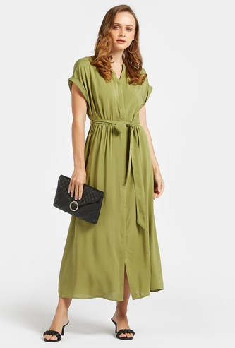 Solid Maxi Shirt Dress with Extended Sleeves and Tie-Ups
