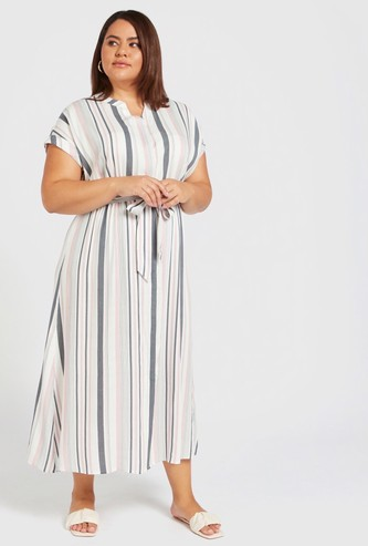 Striped Midi Shirt Dress with Extended Sleeves and Tie-Ups