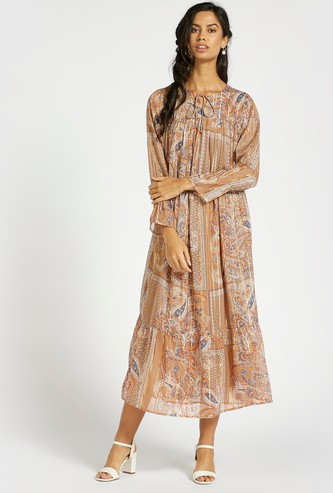 Printed Tiered Boho Maxi Dress with Long Sleeves