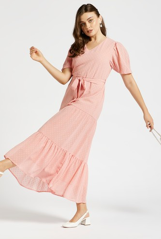 Textured Tiered Maxi Dress with Puff Sleeves and Tie-Up Belt