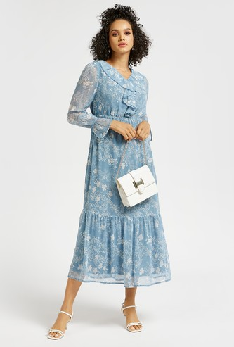 Floral Print Ruffle Neck Midi Tiered Dress with Long Sleeves