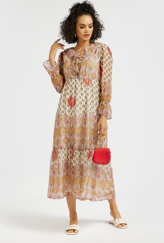 Printed Midi Tiered Dress with Long Sleeves and Ruffles