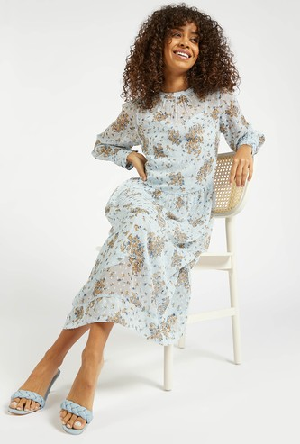 All-Over Print Midi A-line Dress with Round Neck and Bishop Sleeves