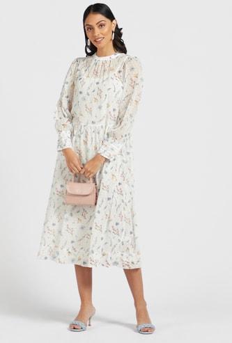 فستان ميدي إيه لاين بياقة مستديرة وأكمام بيشوب وطبعات عليه بالكامل