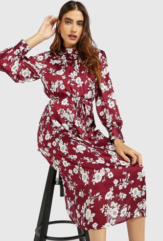 فستان ميدي إيه لاين بأكمام طويلة وطبعات أزهار عليه بالكامل