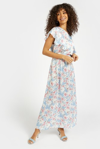 Floral Print A-line Maxi Dress with Cape Detail Sleeves