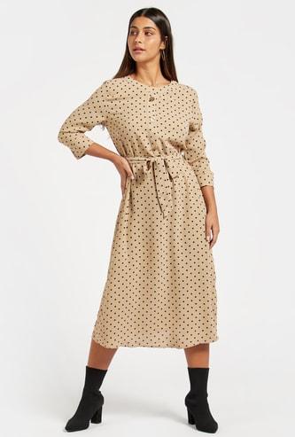 Polka Dot Print Midi Dress with 3/4 Sleeves and Belt