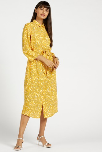 All-Over Print Shirt Midi Dress with 3/4 Sleeves and Tie-Ups