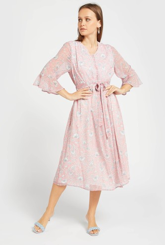 Floral Print A-line Midi Dress with 3/4 Sleeves and Tie-Ups