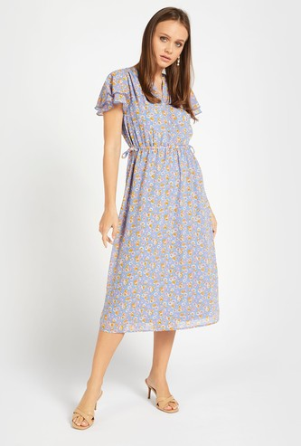 All-Over Floral Print Midi A-line Dress with Flutter Sleeves