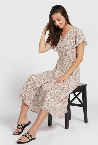 All-Over Print Midi A-line Dress with V-neck and Frill Sleeves