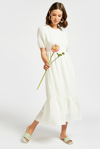 Textured Midi Tiered Dress with Round Neck and Puff Sleeves