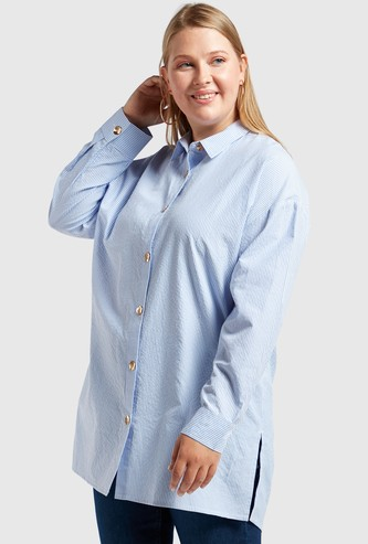 Striped Poplin Tunic with Long Sleeves and Button Closure