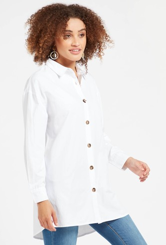 Solid Poplin Tunic with Spread Collar and Long Sleeves
