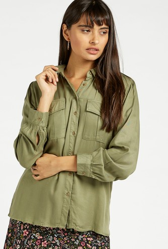 Textured Twill Shirt with Long Sleeves and Flap Pockets