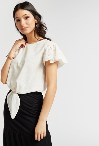 Textured Round Neck Top with Cap Sleeves and Knot Detail