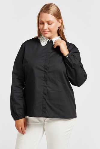 Solid Lace Detail Collared Shirt with Long Sleeves and Button Closure