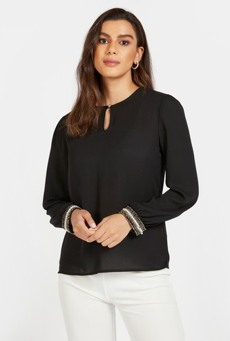 Solid Top with Embellished Long Sleeves and Neck Button