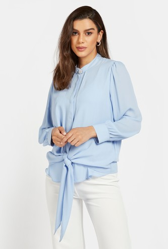 Solid Shirt with Pearl Detail Button and Bishop Sleeves
