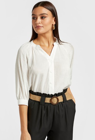 Textured Shirt with 3/4 Sleeves and Button Closure