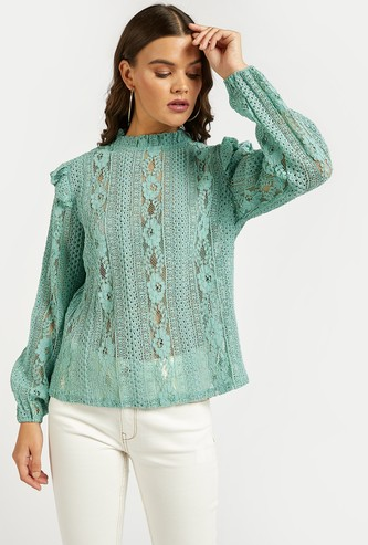 Lace Detail Top with High Neck and Bishop Sleeves
