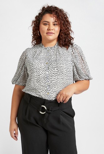 All-Over Print Top with Frill Collar and Volume Sleeves