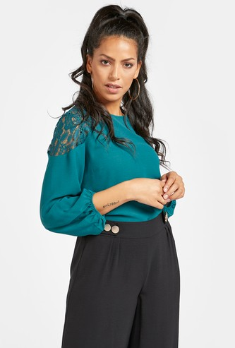 Solid Top with Round Neck and Lace Detail Sleeves